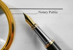 Notary public document, magnifier and fo