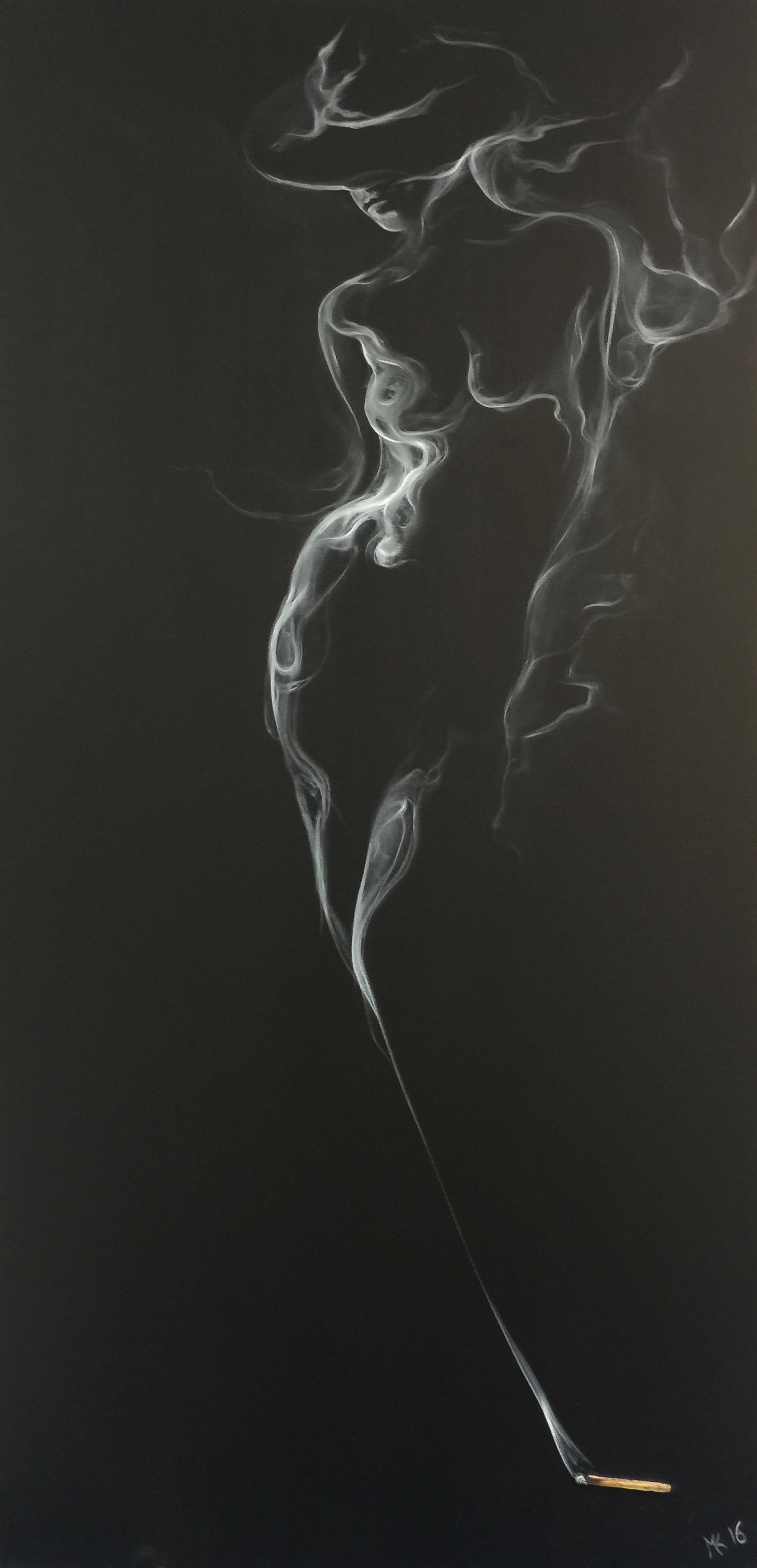 Girl with only hat-smoke Mher Khach