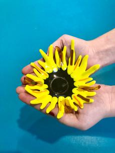 Glass Sunflower Dish