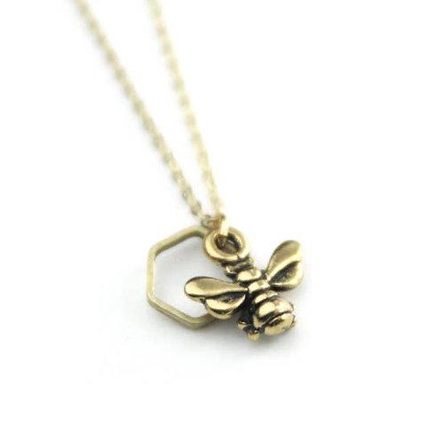Honeybee Hexagon Necklace