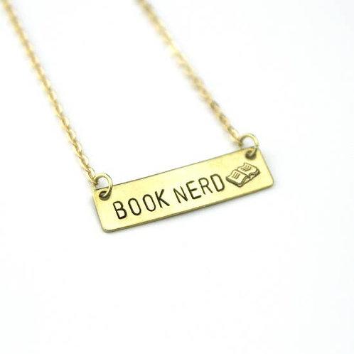 Book Nerd Hand Stamped Bar Necklace
