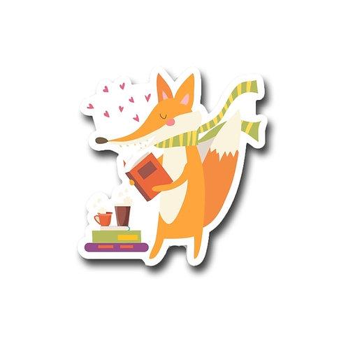 Mr. Fox Loves to Read Vinyl Sticker