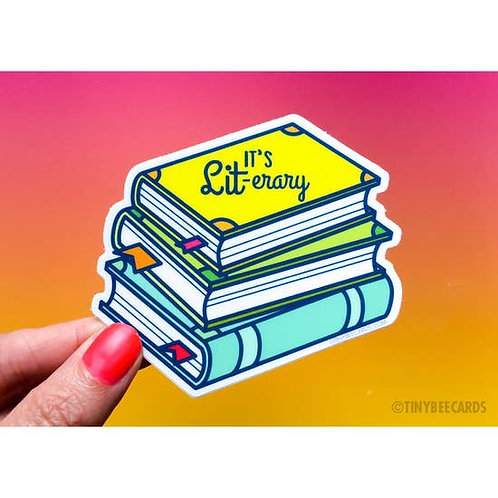 """It's LIT-erary"" Books Vinyl Sticker"