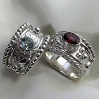 Sterling Band Rings with Gemstones_E3406