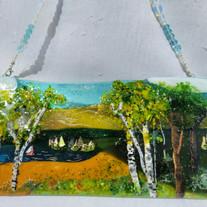 MSA529 $110 Hanging Panel-Lake View birch mountain landscape in glass.jpg