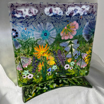 MSA513 $285 Fantasy Mountain Meadow-Fused glass painting panel w  matching glass stand.jpg