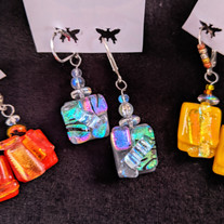 Earrings - Dichroic shards fused onto opaque glass w/ glass beads and/or crystals. Sterling leverbacks.