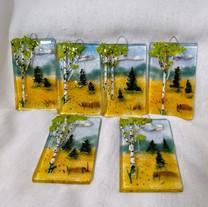 MSA504 $34 Suncatcher-glass painting sculpture-NH Early Spring Landscape