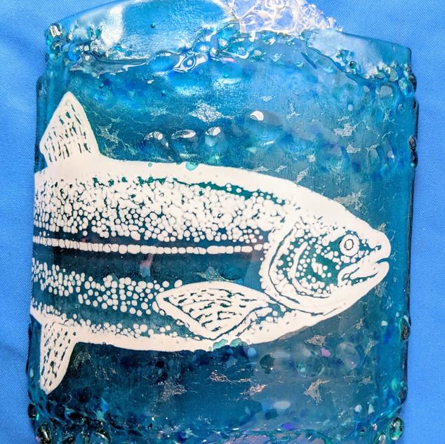 MSA480 Standing curved panel-Silkscreened & enameled lake fish on turquoise iridized fused glass.