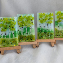 MSA390 $26 mini fused glass frit painting-spring meadow & birches on wooden easel