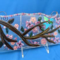 MSA138 Hanging Panel-fused glass hummingbird at cherry blossom branch $75