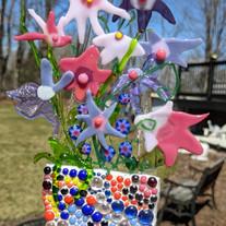 MSA507 $65 Suncatcher fused glass sculpture-Tessera flowerpot full of flowers.jpg