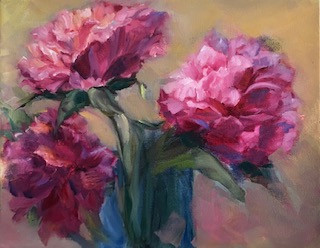 Peonies in Blue Vase
