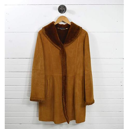 Stefania Saree Shearling Fringe Trim Coat #170-64