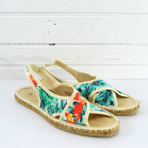 Atmosphere Tropical Print Espadrille Sandals #150-2050