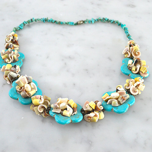 Turquoise & Seashell Necklace #150-3109
