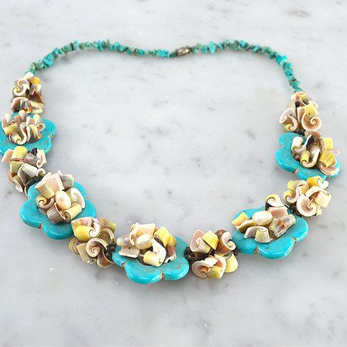 Turquoise & Seashell Necklace #150-3109