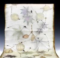 Eco-print silk charmeuse scarf