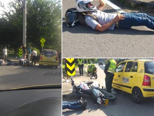 Accidente entre moto y taxi en la 60 con Ambalá dejó a una persona herida