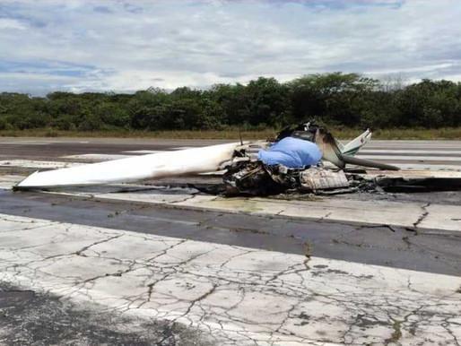Accidente de aeronave de la Policía en Mariquita deja un muerto y un herido