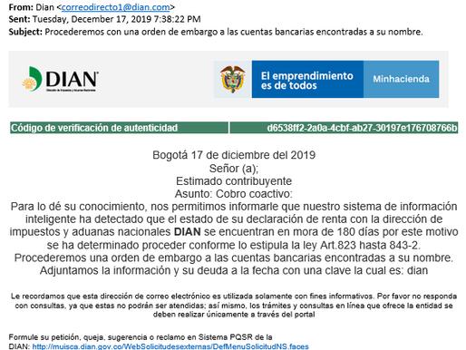 NUEVA VERSIÓN DE CORREO ELECTRÓNICO FRAUDULENTO A NOMBRE DE LA DIAN