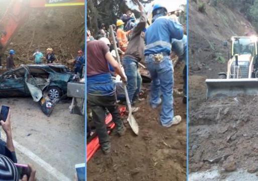 Vehículos quedaron atrapados en deslizamiento en la Línea