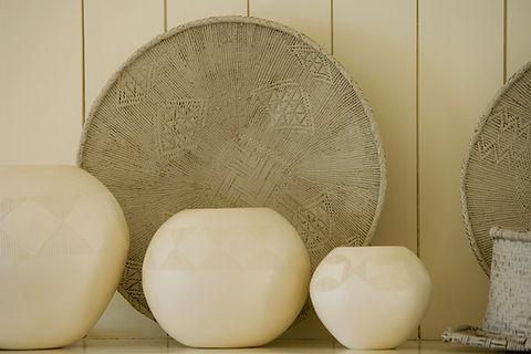 3 White Vases