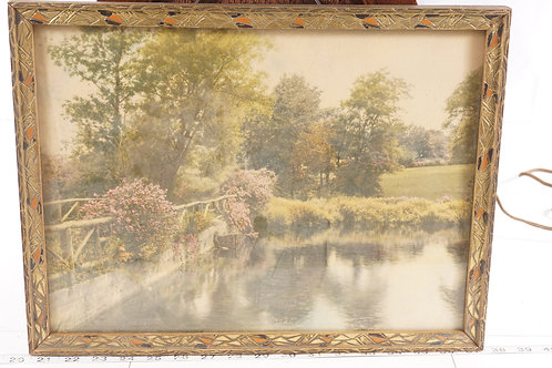 1950s Framed Picture - Lake And Trees