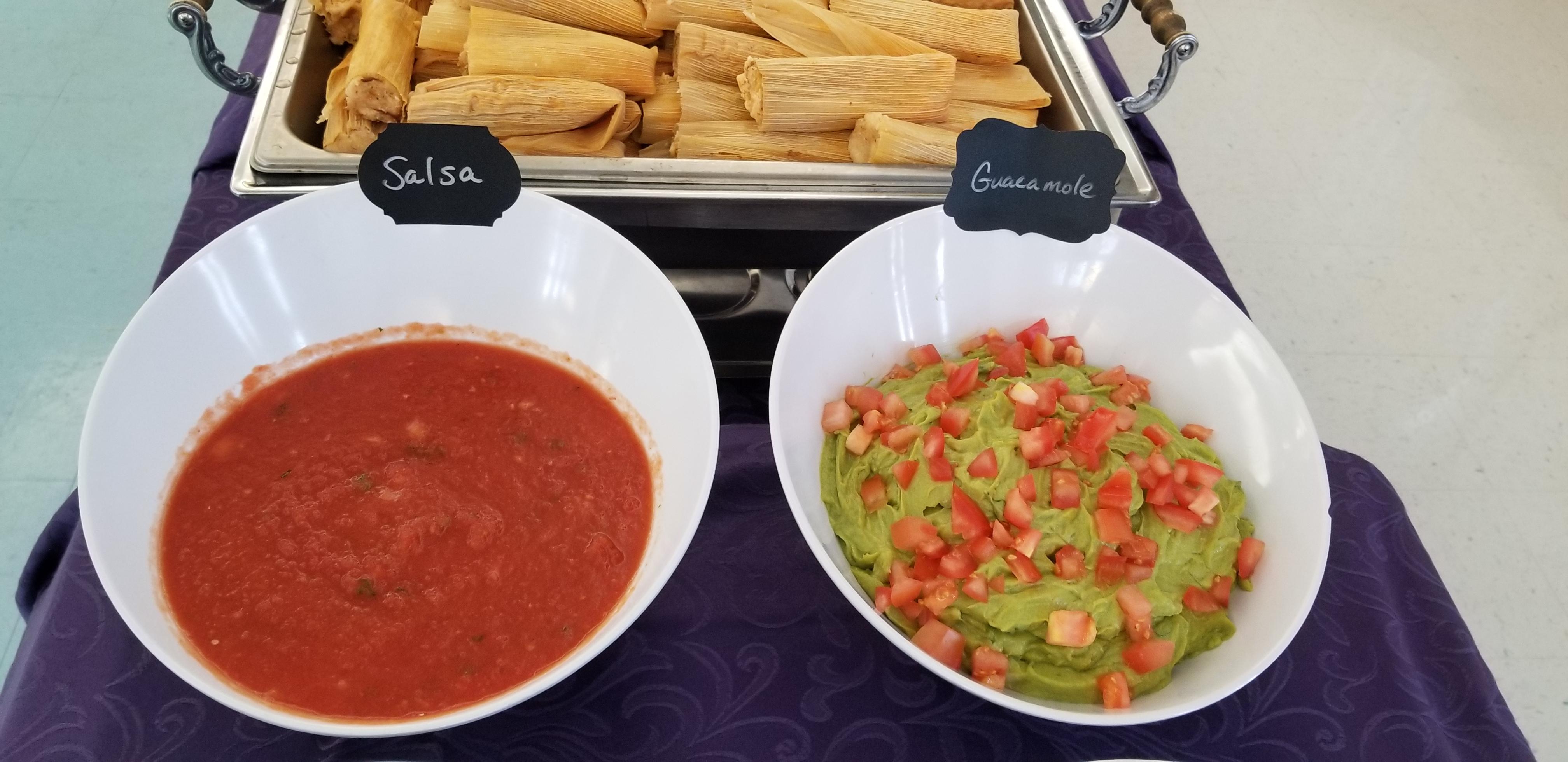 Tamale and salsa bar