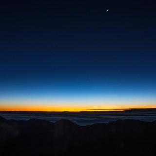 Mount Haleakala as the Sun Starts to Rise