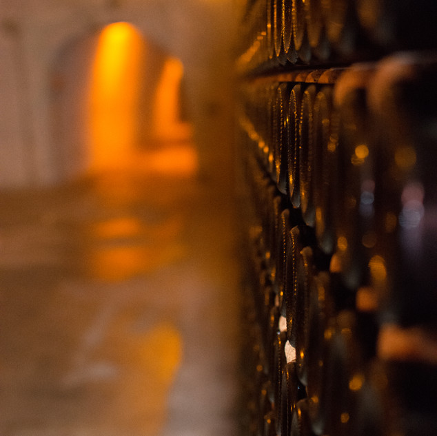 Champagne resting in the cellar