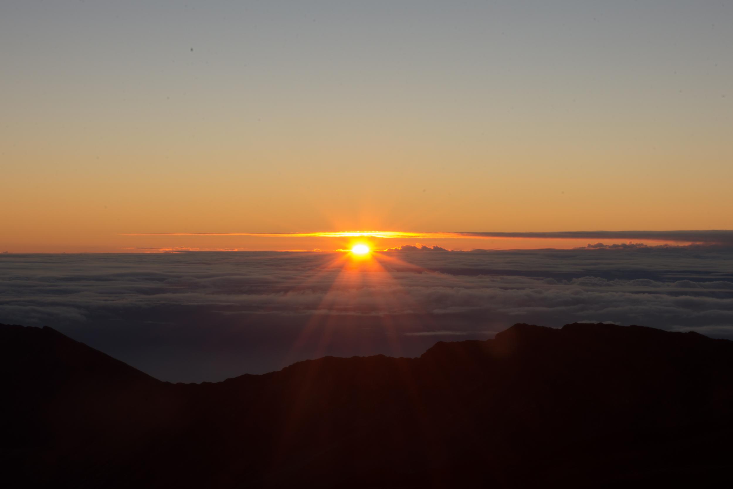 Sun Peaking at Mount Haleakala