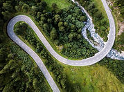 Aerial View of Curved Road