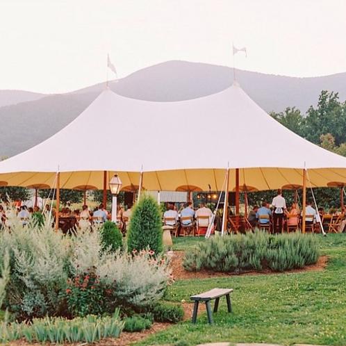 Triple peaked oblong tent