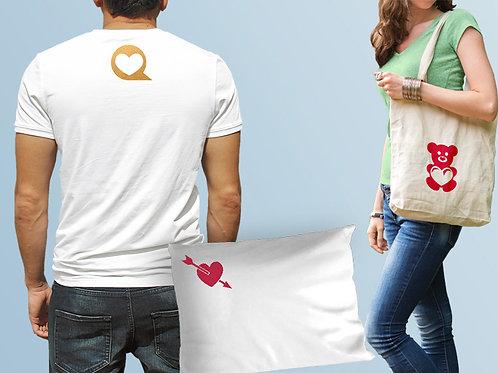 מדבקות לב לגיהוץ על חולצות, תיקים, כלי מיטה ועוד