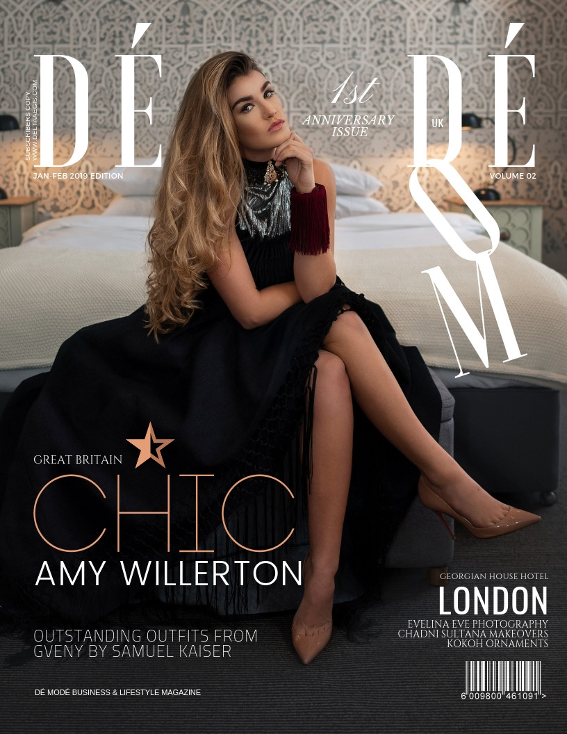 DE MODE JAN-FEB 2019 UK ISSUE COVER | Location: Georgian House, London | Designer: Gveny London | Jewellery: Kokoh Ornaments | Makeup: Chadni Sultana, London | Faux Fur Coat: Miranda Dunn London