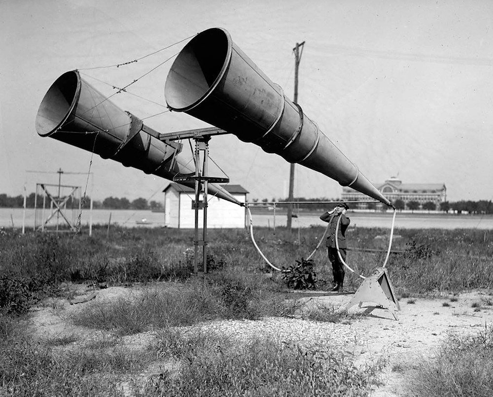 Aircraft engines produced unprecedented sound, so in order to hear them at a distance, the war efforts developed listening devices.