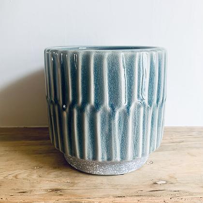 Blue Striped Stoneware Pot