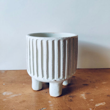 Handmade Carved Stoneware Pot - No.31 (To fit 9cm)