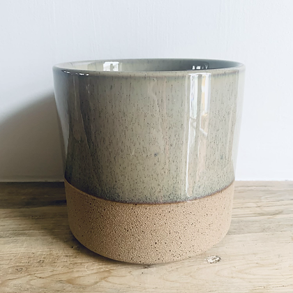 Taupe Demi-Glazed Stoneware Pot