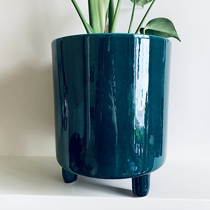 Teal Stoneware Pot with Feet