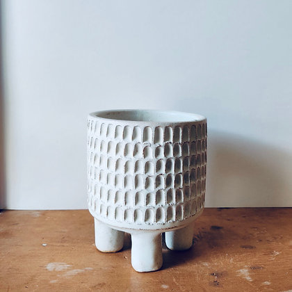 Handmade Carved Stoneware Pot - No.28 (To fit 9cm)