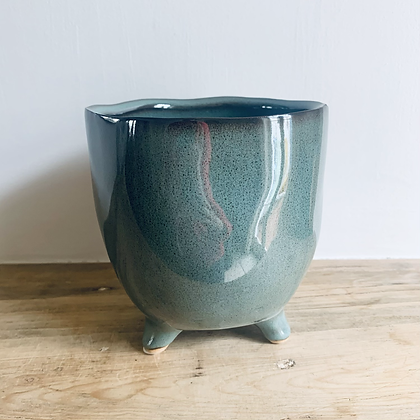 Teal Green Stoneware Pot With Feet