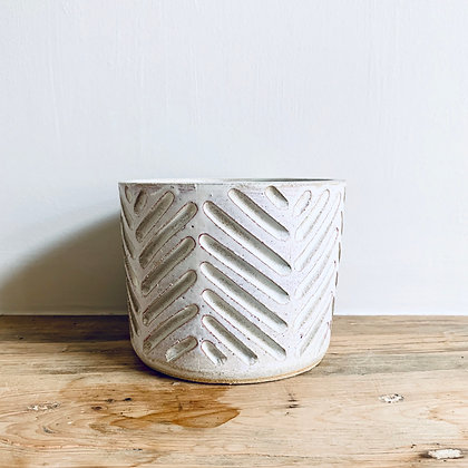 Medium Carved Stoneware Pot - No.15 (To fit 10.5cm)