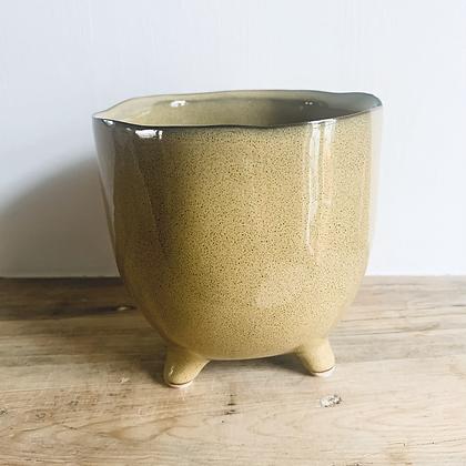 Yellow Stoneware Pot With Feet