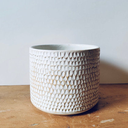 Handmade Carved Stoneware Pot - No.33 (To fit 10.5cm)