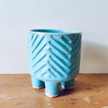 Handmade Carved Stoneware Pot - No.27 (To fit 9cm)