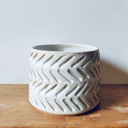 Handmade Carved Stoneware Pot - No.41 (To fit 12cm)