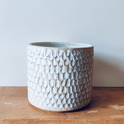Handmade Carved Stoneware Pot - No.43 (To fit 12cm)