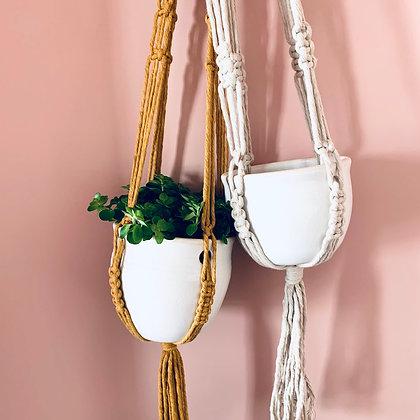 Macrame & Stoneware Pot Hanger - Beach Stone